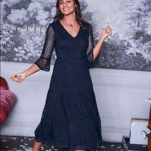 NWT BODEN | Rosanna Embroidered Dress Mesh Navy